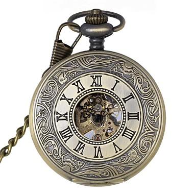 Buy Men's Retro Hollow Roman Numbers Mechanical Pocket Watch Brand New Hand Wind .