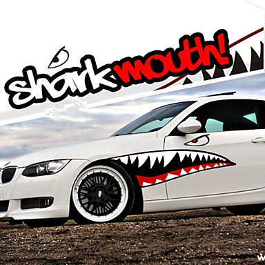 Red Grey Shark Mouth Garland Car Styling Reflective Vinyl Sticker Auto Cool Refitting Exterior
