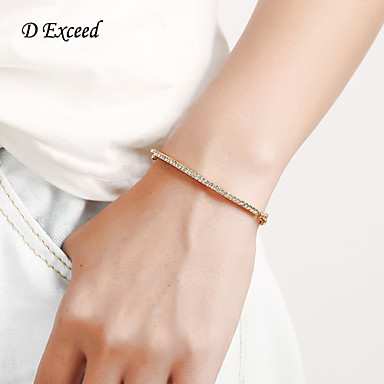 D Exceed Cubic Zircon Rose Gold Charm Ladies Bangle Bracelets Simple Design Long chain Women Rose Gold Bangle Bracelets