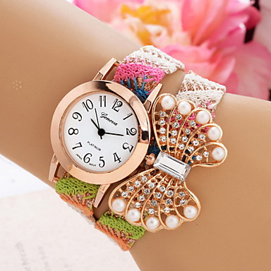 Women's Fashion Quartz Butterfly Bracelet Watch Weave Band