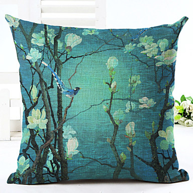 Novelty Floral Pattern Linen Pillowcase Sofa Home Decor