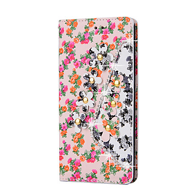 Rhinestone Bling Leather Case Huawei P9 Lite/P9/P8 Lite/P8/Mate8/V8/5C/4C Flip Cover Print Flower