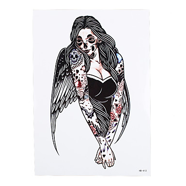 1pc Fake Body Art Decal Tattoo for Women Men Angel Wing Beauty Girl Flower Arm Temporary Tattoo Sticker HB-413