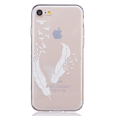 TPU Material White Feather Pattern Painted Relief Phone Case iPhone 7 Plus/7/6s Plus / 6 Plus/6S/6/SE 5s 5