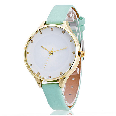 Women's Dress Watch Fashion Wrist watch Casual Quartz Punk Colorful Large Dial PU BandVintage Sparkle Candy color Bohemian
