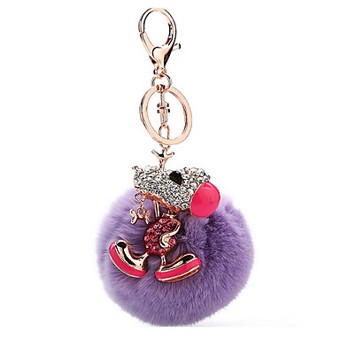 Key Chain Sphere / Dog Key Chain Purple Metal / Plush