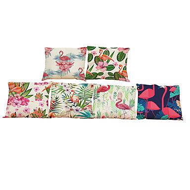 Set of 6 Flamingo pattern Linen Pillowcase Sofa Home Decor Cushion Cover