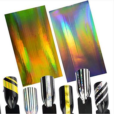 2pcs/set Fashion Nail Art Beauty Design Laser GoldSilver Nail Art Line Nail DIY Stripe Line Foils Stickers Foil Stripping Tape Decoration