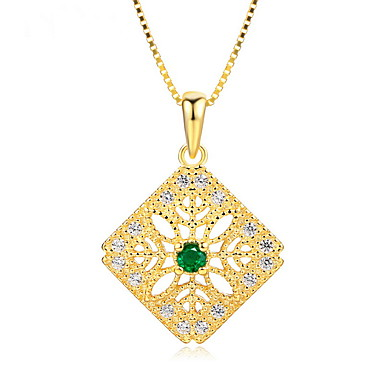 Women's Pendant Necklaces Emerald Jewelry Emerald Alloy Euramerican Fashion Simple Style Jewelry 147 Wedding Party Birthday Party/ Evening