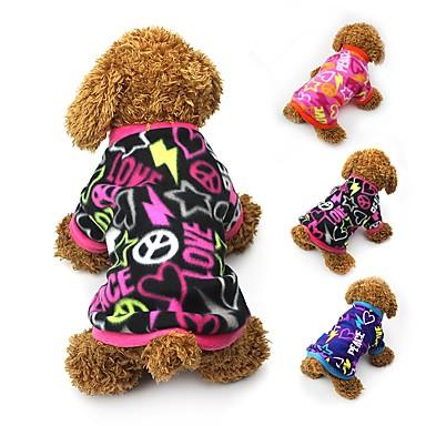 Cat Dog Coat Shirt / T-Shirt Sweatshirt Dog Clothes Party Casual/Daily Keep Warm Hearts Black Blue Fuchsia