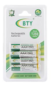 BTY 1350mAh AAA Ni-MH Herlaadbare Batterijen (4 stuks)