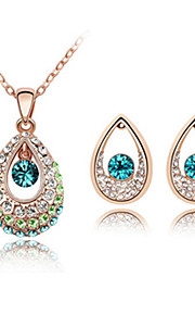 vanddråbe design krystal og platineret legering halskæde med øreringe