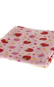 Pink Strawberry Mønster Pet Blanket for Hunde Katte (70 x 70cm)