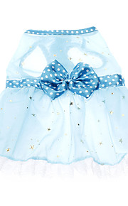 Cat / Dog Dress Blue Spring/Fall Bowknot / Polka Dots Wedding