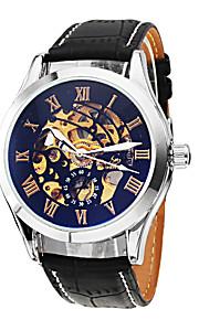 Masculino Relógio de Pulso Automático - da corda automáticamente Gravação Oca Couro Banda Preta marca- SHENHUA