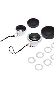 3-i-ett-180 ° Fish Eye Lens og vidvinkel med 0.67X Macro Lens for iPhone 5 and Others