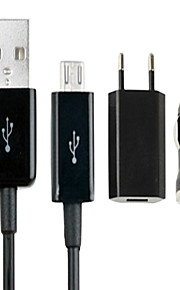 3 In 1(Eu Plug,Micro Usb Cable,Car Charger)Travel Kit For Galaxy Htc Sony Ericsson