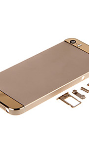 Champagene Hard Metal Alloy Tilbage Battery Boliger med knapper og Gold Glass For iPhone 5s