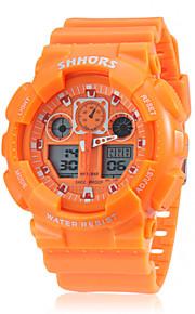 Masculino Relógio Esportivo Quartz LCD / Calendário / Cronógrafo / Dois Fusos Horários Banda Preta / Branco / Laranja / Verde marca-