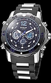 Masculino Relógio Militar Quartzo Japonês LCD / Calendário / Cronógrafo / Impermeável / Dois Fusos Horários / alarme Banda Preta marca-