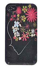 아이폰 4/4S를위한 다색 꽃 머리 본 뒤 케이스를 가진 특별한 디자인 소녀 얼굴
