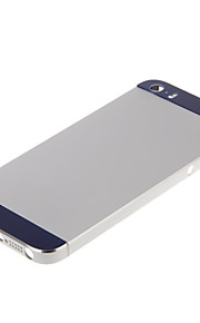 Silver Hard Metal Alloy Tillbaka Batterihus med marinen Glas för iPhone 5s