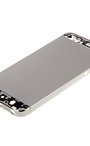 Silver Hard Metal Alloy Tillbaka Batterihus med Transparent Glas för iPhone 5s