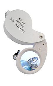 40x25mm Oplyst Smykker Magnifier Gem forstørrelsesglas LED Lup