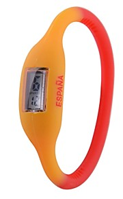 Unisex Espanha Flag Digital Design Silicone Bracelet Watch Football Cup Presente