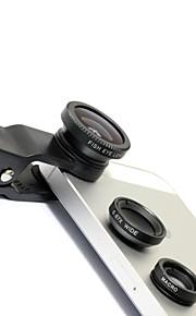 Universal 3-i-1 kliplinse bred vinkel + Macro + fiskeøje linse (sort)