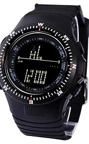 Projeto fresco do LCD dos homens Dial PU Banda Multifunction japonês Quartz Outdoor Sport Watch