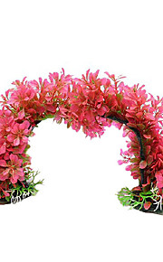 Kunststoff-Pflanze rosa Variable Form Dekoration Ornament für Aquarium