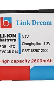 Enlace Dream High Quality 3.7V 2600mAh de la batería del teléfono celular para HTC EVO 3D G14 G18 G21 (EVO 3D)