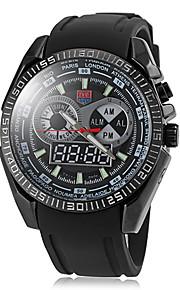 multifuncional fusos horários duplos banda silicone relógio de pulso dos homens