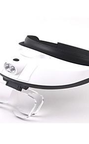 múltipla lente de mão dupla regulação cabeça-vestir lupa com 2-levou luz (3 x AAA)