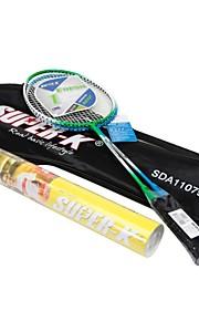 SUPER K Steel Badminton Racket Set(2 Rackets + 12 Nylon Shuttlecocks)