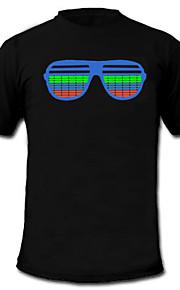 lyd og musik aktiveres spektrum VU-meter el visualizer ledede t-shirt (4 * aaa)
