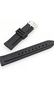 mulheres homens 24 milímetros relógio de silicone preta modelo de pulseira pulseira banda moda