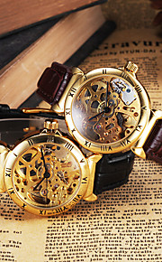 relógio de pulseira de couro esqueleto vestido de ouro auto vento automático dos homens cjiaba (cores sortidas)