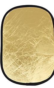 60 * 90cm 2-i-1 rektangulær guld og sølv håndholdt reflektor