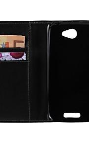 color sólido de la PU cuero de la cubierta protectora de cuerpo completo con soporte para el htc uno s