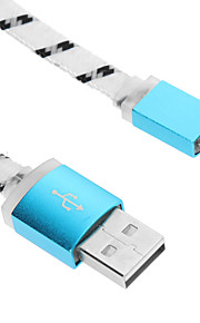 Micro USB Aluminium Weaving Noodle Shining Charger Cable