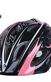 måne kid 17 vents eps + pc pink + sort integreret støbt cykelhjelm (52-55cm)