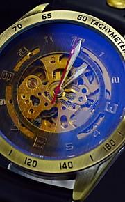 relógio auto-mecânica esqueleto retro bronze esportes gravura oco dos homens relógios de couro banda (cores sortidas)