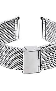24 milímetros de espessura em aço unisex malha relógio pulseira pulseira banda dobre prata fivela