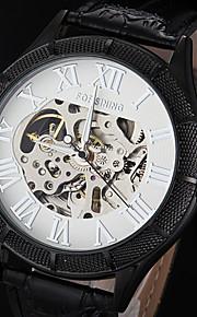 automático relógio de marcação oco caixa preta números romanos pulseira de couro de pulso mecânico dos homens forsining® (cores sortidas)