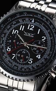 auto-mecânica 6 ponteiros prata relógio pulseira masculina