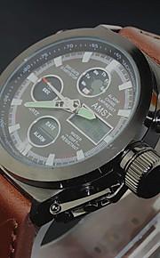 Masculino Assista Quartzo Japonês Relógio Militar LCD / Calendário / Cronógrafo / Impermeável / Dois Fusos Horários / alarme Couro Banda