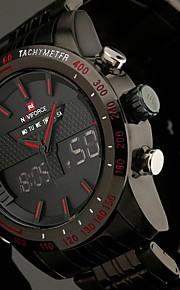 Masculino Assista Quartzo Japonês Relógio Esportivo LED / LCD / Calendário / Cronógrafo / Impermeável / Dois Fusos Horários / alarmeAço
