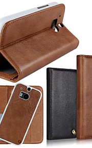 Para Funda HTC Soporte de Coche / Cartera / con Soporte / Flip Funda Cuerpo Entero Funda Un Color Dura Cuero Auténtico HTC
